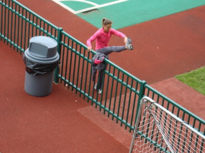 Here's Kristin Wurth-Thomas doing some dynamic stretches.